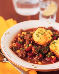 Skillet Chili Beef with Corn Biscuits. Check out this recipe and more Texas Favorites at the new txbeef.org