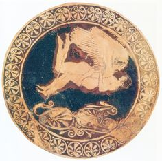 Zephyrus and Hyacinthus, Red-figured cup, ca 490 BC. According to Ovid, Apollo is in love with the young Hyacinthus. Unfortunately wounded Apollo mortal deadly with a discus, like a flower Apollo ensures that the young man is reborn. In another version, Zephyrus throws the deadly projectile. According to Aristotle 14, Zephyrus was the soldier, who brought Alexander the Great a helmet full of water when the army was suffering greatly in the Gedrosian desert. Museum of Fine Arts, Boston
