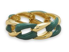 Gold Tone Hinged Fashion Bracelet with Teal Epoxy