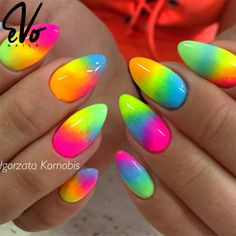 Want some ideas for wedding nail polish designs? This article is a collection of our favorite nail polish designs for your special day. Glitter Gel Nails, Neon Nails, Pink Nails, My Nails, Neon Nail Art, Stiletto Nails, Neon Nail Designs, Nail Polish Designs, Summer Acrylic Nails