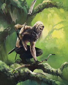 m Half Elf Rogue Thief Leather Armor Longbow Bardich male Jungle deciduous forest tree trail med Fantasy Magic, High Fantasy, Fantasy Rpg, Medieval Fantasy, Fantasy Artwork, Fantasy World, Fantasy Races, Fantasy Warrior, Elf Warrior