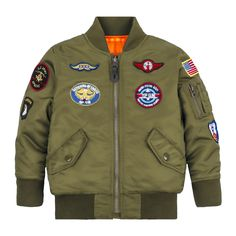 Alpha Youth Jacket with Patches - Ma 1 Jacket, Bomber Jacket, Color Verde Militar, Nasa Clothes, Tactical Jacket, Camisa Polo, Outfit Grid, Quilted Jacket, Patches