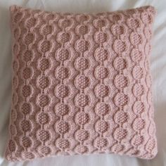 Baby Pink Rings Knitted Cushion