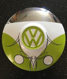 VW bus art on vintage VW hubcap with pinstriping. #vanepinstriping