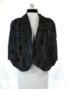 Vintage 1940s black Persian lamb stole by VintageRoseTattoo