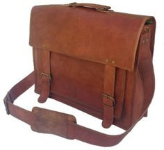 PL 18 Inch Vintage Handmade Leather Messenger Bag for Laptop Briefcase Satchel Bag -- Find out more about the great product at the image link. (This is an affiliate link) Mens Leather Satchel, Vintage Leather Messenger Bag, Leather Laptop Bag, Leather Bags Handmade, Leather Briefcase, Leather Wallet, Laptop Messenger Bags, Laptop Briefcase, Laptop Bags