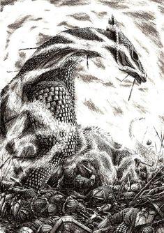 Ilustraciones mágicas de Tierra Media en lápiz y tinta