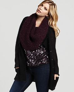 Love this!!!    Eileen Fisher Plus Size Washed Mohair Long Cardigan and Sequined Fine Merino Shell