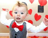 Baby Boy Clothes - Baby Bow Tie With Vest  - Baby Boy Christmas Outfit - Red Bow Tie - Coming Home Outfit - Ring Bearer - Boys Wedding