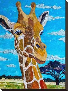size: Stretched Canvas Print: Tall As Treetops : Using advanced technology, we print the image directly onto canvas, stretch it onto support bars, and finish it with hand-painted edges and a protective coating. Paper Collage Art, Collage Artwork, Paper Art, Magazine Collage, Magazine Art, Giraffe Art, Animal Quilts, Painting Edges, Stretched Canvas Prints
