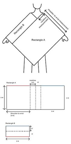Universal poncho diagram - The simplest construction method.- Universal poncho diagram – The simplest construction method. If you can make a rectangle, you can make this. Sewing Hacks, Sewing Tutorials, Sewing Crafts, Sewing Patterns, Crochet Patterns, Poncho Patterns, Poncho Pattern Sewing, Crochet Scarves, Crochet Shawl
