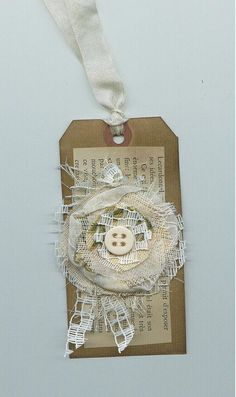 Shabby chic paper and fabric tag