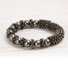 Learn how to make a Snowflake bracelet in gunmetal colour