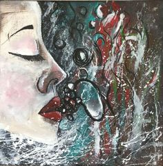 """Buy Blow - Fine Art - Acrylic Painting - Face - Blowing Bubble - Abstract Art - 20x20x1 cm 7.8""""x7.8"""", Acrylic painting by Kumi Rajagopal on Artfinder. Discover thousands of other original paintings, prints, sculptures and photography from independent artists."""