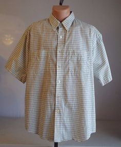 Wrinkle Free Two Pocket Van Heusen X Large 17 17 1/2 Dress Shirt Short Sleeve #VanHeusen