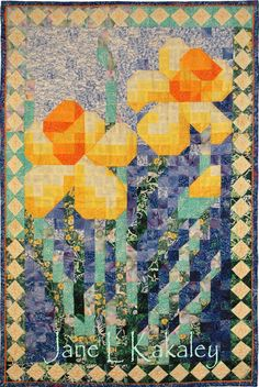 Quilt Pattern Daffodil Mosaic Art Quilt Pattern by JaneLKakaley Quilting Projects, Quilting Designs, Art Quilting, Quilt Design, Quilting Ideas, Watercolor Quilt, Flower Quilts, Quilted Wall Hangings, Mosaic Art