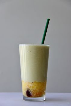 Pineapple Upside-Down Energizing Smoothie  Clean Eating, Plant Based, Dairy Free, Gluten Free, Vegan, Vega, Protein, Maca @VegaTeam @So Delicious Dairy Free @Navitas Naturals