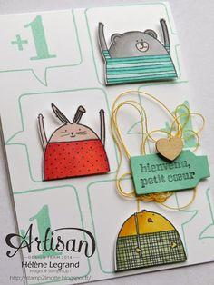 Stamp 2 LiNotte: Variation autour du set Cheerful Critters - Stampin'Up ! Artisan Blog Hop - Février # 2