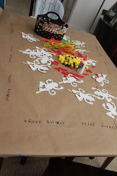 Craft table monkey birthday party