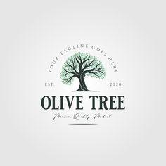 vintage olive tree nature logo vector illustration design Tree Logos, Olive Tree, Vector Stock, Sunday School, Royalty, Graphic Design, Business, Illustration, Nature