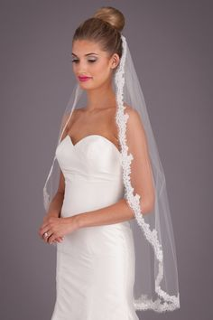 A traditional, fingertip-length, lace bridal veil. | Kennedy Blue Danielle Veil | Kennedy Blue
