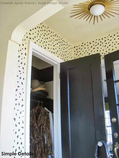 Designer Look or Entry Way or Foyer - Animal Print Cheetah Leapord Spots Wall Stencil Painted in Mudroom, Foyer, Entry - Royal Design Studio