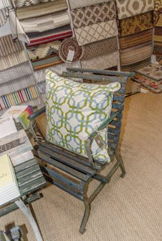 Patio furniture at Peridot West! Dash And Albert, Peridot, Patio, Chair, Rugs, Furniture, Home Decor, Farmhouse Rugs, Decoration Home