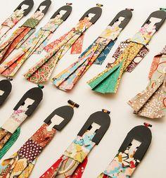 Set of 3 - Japanese Handmade Origami Paper Doll Bookmarks - random colors-patterns
