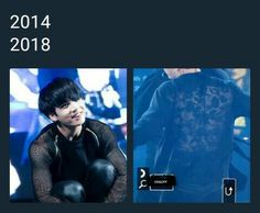 Jungkook then vs now see through shirt