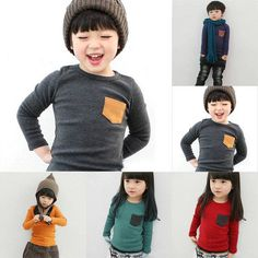 Baby Pullover Clothes Kids Boy Girl Long Sleeve Cotton T-shirt Pocket Decor H58 #Unbranded #Everyday