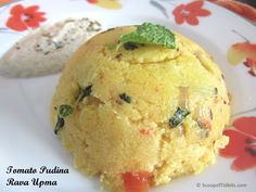 Tomato Pudina Rava Upma or Tomato Mint Rava Upma is an easy to make breakfast dish. Tomato Mint Rava Upma is very flavorful and also simple to whip. Upma a
