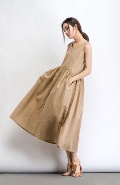 Beige Linen Dress Maxi Neutral Color V-neck от YL1dress на Etsy