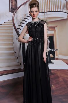2014 Sicilian Style High Neck A Line Floor Length Tulle Dresses Beaded  (Color Just As Picture Show) f2274a7ce31c