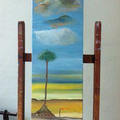 Serata Romantica , l'albero e l'agnellino Olio su tela 90x30