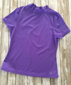 f686e0470dc LANDS END KIDS Purple Rash Guard UPF 50 Sun Shirt Size L 14 WORN 1X LKNW
