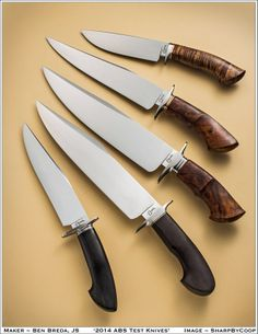 This is Ben Breda's presentation set of knives that were juried by the ABS Judging Panel at the Atlanta Blade Show on June 6th. Ben passed and earned his Journeyman Smith rating. Contact Ben Breda at email bredaknives@gmail.com