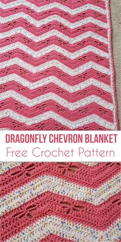 Dragonfly Chevron Blanket [Free Crochet Pattern] #chevron #babyblanket #dragonfly #crochet #freecrochetpatterns #giftidea #babyShowerGifts Download for free!