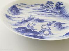 Eggshell porcelain sometsuke saucer with design of karako by Hirado Tousyo