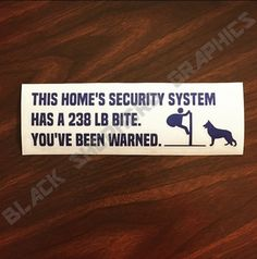 Our German Shepherds are our absolute best friends: loving and loyal in every way. Just as we give them food, shelter and companionship, they return the favor by offering us peace of mind in our homes. Our Home Security System Decal offers a fair warning to all intruders, illustration included, t...