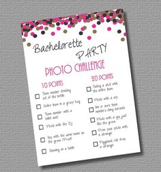INSTANT DOWNLOAD / PDF: Bachelorette Party Game- Photo Challenge by InStyleInSpirations on Etsy https://www.etsy.com/listing/178527050/instant-download-pdf-bachelorette-party