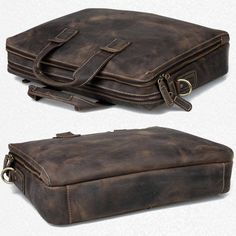 "Vintage Leather Briefcase / Messenger / 14"" 15"" Laptop 13"" 15"" MacBook Pro Bag"