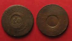 1835 Brasilien BRAZIL 40 Reis ND(1835) - Error INCUSE - RARE!!! # 90973 ss Middle Ages, Brazil, Copper, Rice, Medieval, Medieval Times, Brass
