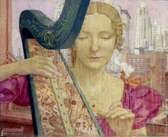 Maxwell Ashby Armfield (British artist, 1881-1972) Music in New Your, Homage to Bach 1946