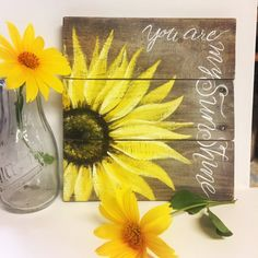 Pallet Ideas Sunflowers You Are My Sunshine Pallet Board Sunflower Pallet - Sunflower Kitchen, Sunflower Art, Sunflower Paintings, Pallet Painting, Painting On Wood, Rustic Painting, Art Floral, Grand Art, Decoration Entree