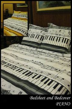 Piano Keyboard Quilt Cover and pillows