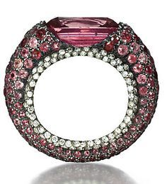 Ring of colored sapphires and diamonds