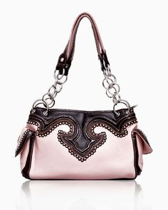 Pink Embellished PU Hand Bag
