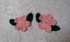 2 Pink Crocheted Flower with 4 Leaves by TimeForCrochet on Etsy, $3.00