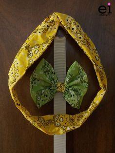 Faixa turbante regulável Amarela para Mães - M: R$25 Laço Verde para Filhas - M: R$10