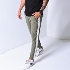 Have you seen our new products?  Jogger Pants Side Stripes - Khaki Regular price $54.99  #addidasboost #adidasoriginals  #boostvibes #complex #ootdmen  #yeezyboost #highsnobiety #hypebeast #introfashion #kanyewest #kickstagram #minimalmovement #offwhite #ootd Mod Fashion, Grunge Fashion, Sporty Fashion, Fashion Women, Pants For Women, Jackets For Women, Women's Jackets, Jogger Pants, Joggers